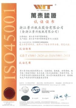 OHSAS18001职业健康安全管理体系认证证书中文